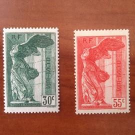 France num Yvert 354-355 ** MNH Paire Samothrace Année 1937