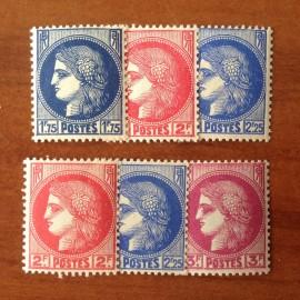 France num Yvert 372-376 ** MNH Type ceres Année 1938