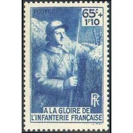 France num Yvert 387 ** MNH Infanterie Année 1938