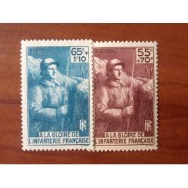 France num Yvert 386-387 ** MNH Infanterie Année 1938