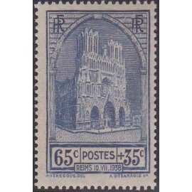 France num Yvert 399 ** MNH cathedrale  Reims Année 1938