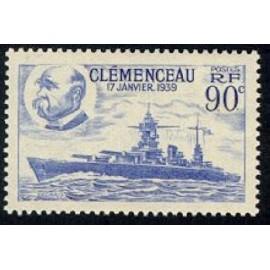 France num Yvert 425 ** MNH bateau clemenceau Année 1939
