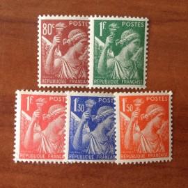 France num Yvert 431-435 ** MNH Iris Année 1939