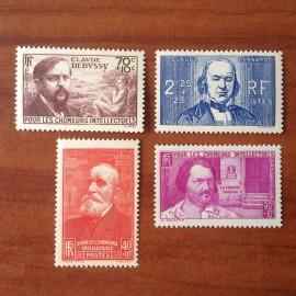 France num Yvert 436-439 ** MNH Série Chomeurs intellectuels Année 1939