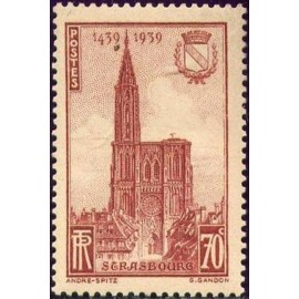 France num Yvert 443 ** MNH cathedrale Strasbourg Année 1939