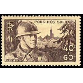 France num Yvert 451 ** MNH Fantassin à Strasbourg Année 1940