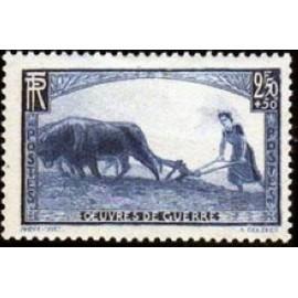 France num Yvert 457 ** MNH Femme Labour attelage Année 1940