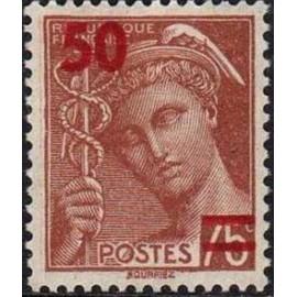 France num Yvert 477 ** MNH surchargé Mercure Année 1941