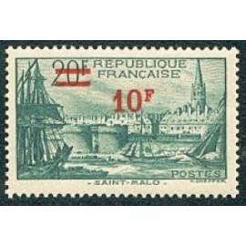 France num Yvert 492 ** MNH St Malo surchargé Année 1941