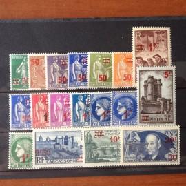 France num Yvert 476-493 ** MNH Série Complete Année 1941
