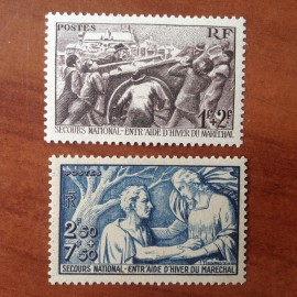 France num Yvert 497-498 ** MNH Secours National Année 1941