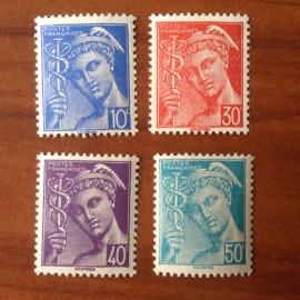 France num Yvert 546-549 ** MNH Mercure Année 1942