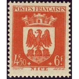 France num Yvert 563 ** MNH Armoiries Nice Année 1942
