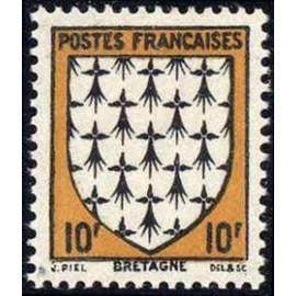 France num Yvert 573 ** MNH Armoiries Bretagne Année 1943