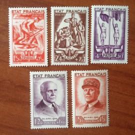 France num Yvert 576-580 ** MNH  Année 1943