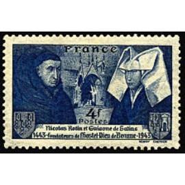 France num Yvert 583 ** MNH Nicolas Rolin Année 1943