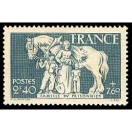 France num Yvert 586 ** MNH Enfant  Cheval Année 1943