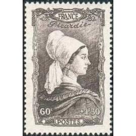 France num Yvert 593 ** MNH Coiffe Picardie Année 1943