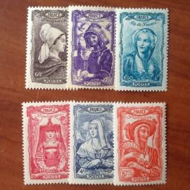 France num Yvert 593-598 ** MNH Célébrités Année 1943