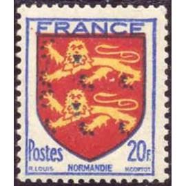 France num Yvert 605 ** MNH Armoiries Normandie Année 1944