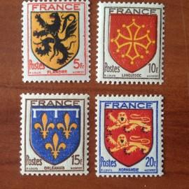 France num Yvert 602-605 ** MNH Serie Armoirie Année 1944
