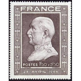 France num Yvert 606 ** MNH Buste par Lavrillier Année 1944