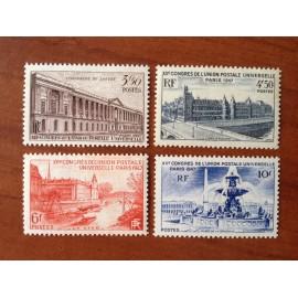 France num Yvert 780-783 ** MNH UPU Année 1947