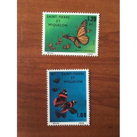 Saint Pierre et Miquelon 441-442 * MH Papillon Butterfly année 1975