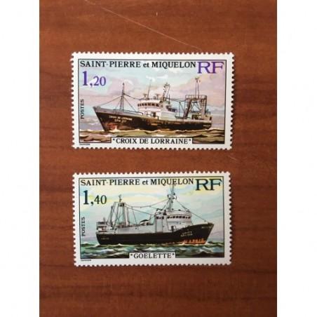 Saint Pierre et Miquelon 453-454 * MH Bateaux de Peche année 1976