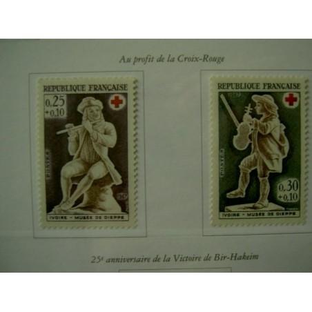 France Yvert Num 1540-1541 ** Croix Rouge  1967