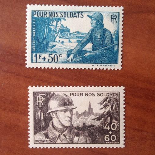 France num Yvert 451-452 ** MNH Soldats Année 1940