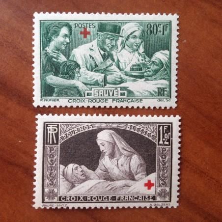 France num Yvert 459-460 ** MNH Croix rouge Année 1940