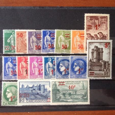 France num Yvert 476-492 ** MNH Série sans Adher Année 1941